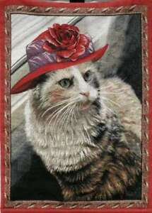 "Tapestry-""Kitty in Red Hat"" w/Wooden Rod, 26x36"