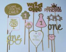 Pink and Gold First Birthday Party Photo Booth Props-Sticks come attached