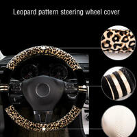 "1Pc Leopard Print Plush Car SUV Steering Wheel Cover Keep Warm 15"" Universal xzc"