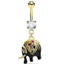 """COLORFUL ELEPHANT DANGLE BELLY RING 14G 3/8"""" NAVEL PIERCING BODY JEWELRY"""