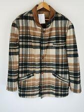 Vintage Aztec Blanket checked Winter Jacket Coat Retro SZ L  (E905)