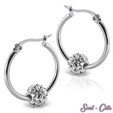 1 Pair Earrings strass-kugel Hoop Zirconia Stainless Steel Glamour Silver