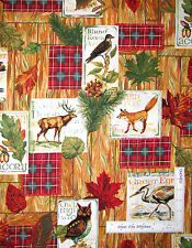 Autumn Deer Fox Bird Fall Leaves Cotton Fabric Fabriquilt Fall Retreat - Yard