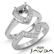 Diamond Engagement Pave Ring Heart Bridal Sets 18k Gold White Semi Mount 0.86Ct