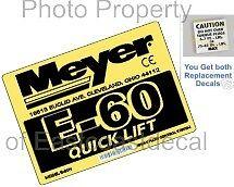 2 Snow Plow Decals = 1 Mini Torque + 1 Meyer E60 Quick Lift Pump Decal  E-60 MP3