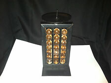 BLACK METAL ART PEACH MARBLE CANDLE STAND HOLDER ABACUS LOOK