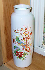 vintage pretty white ceramic vase with gold rim peacocks flowers made in Japan