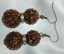 Fashion Statement Earrings Bling GOLD BROWN BOLLYWOOD CELEB BASKETBALL WIVES