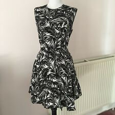 NEW H&M White Label Black White Palm Leaf Print High Low Hem Dress UK 16