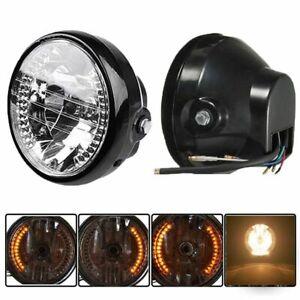 "6.5"" Universal Motorcycle Bike Headlight Head Lamp Amber LED Turn Signal Light"