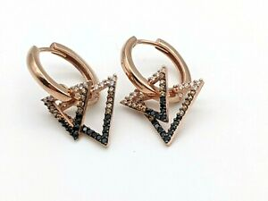 925 Sterling Silver Topaz Women's Earrings Rose Gold Triangle