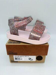 Mini Melissa Toddler's Jump Adjustable Hook-and-Loop Sandals Pink Glitter