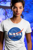 NASA Logo Womens T Shirt Space Astronaut Vintage Style Retro Classic Tee White