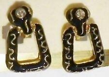 boucles d'oreille clips bijou vintage couleur or et noir cristal diamant 5089