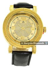 mens gold diamond sand business clubbing watch ice out black leather Maxx Master