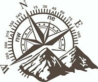 (No.729) CAMPER VAN, MOTORHOME, CARAVAN DECAL, GRAPHIC, COMPASS & MOUNTAINS