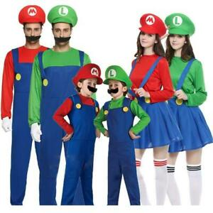 Super Mario Bros Unisex Adult & Kids Cosplay Fancy Dress Outfit Costume