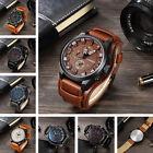 Fashion Curren Men's Date Brown Leather Black Analog Quartz Sport Wrist Watch