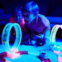 Glow Trax Race Car Track Set 420 Pieces Racing Set Glow in Dark 2 Cars 2 Players