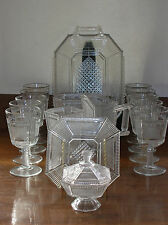 """EAPG """"Pleat & Panel""""  Bryce Glass Ca. 1870s ~ 15 Pieces Tray Goblets Spooner"""