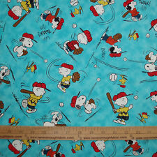 Cotton Fabric Peanuts All Stars Play Baseball Charlie Brown Lucy Snoopy Blue