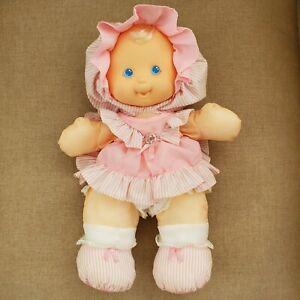 Vintage Fisher Price Puffalump Kids Blue Eyed Blonde Baby Doll Plush Toy 1991