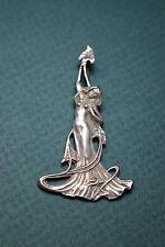 BREATHTAKING vint. nude woman Art Nouveau/Deco sterling silver necklace pendant