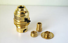 Brass switched lamp holder Kit BC fitting c/w wood thread base plate adaptor