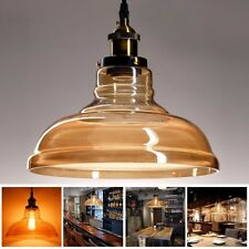 DIY Amber Glass Vintage Pendant Light Fixture LED Ceiling Lamp Chandelier Bulbs
