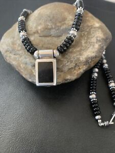 NWOT Pendant Native Navajo Pearls Sterling Silver Black Onyx Bead Necklace 02084