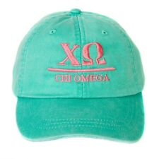 Chi Omega (B) Sea Foam Baseball Hat with Coral Thread