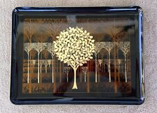 Vintage 70's Otagiri Japan Handcrafted Golden Trees Black Lacquer Tray, 14 ""