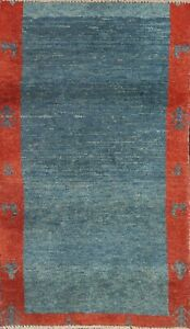 Vintage Bordered Modern Gabbeh Hand-knotted Area Rug Wool Oriental 3'x5' Carpet