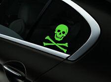 Skull Crossbones Car Sticker Window Styling Decal, Neon Green