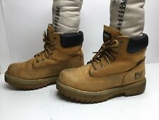 VTG MENS TIMBERLAND PRO WATERPSTEEL TOE WORK SUEDE LIGHT BROWN BOOTS SIZE 7.5 W