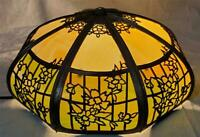 """20"""" Antique EMPIRE LAMP Co 1920's SLAG GLASS Hanging Chandelier Shade """"Repair"""""""