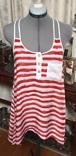 Summers Red & White Striped Racer Back Rayon Shirt Tank Top Blouse Size S/M