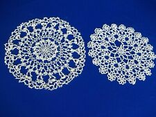 """Vintage 1920's curly loopy Tatted Doilies set 10 11 """" White Lt Beige Handmade"""
