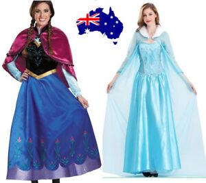 Book Week Women Adult Frozen Elsa Queen Anna Princes Cosplay Fancy Dress Costume