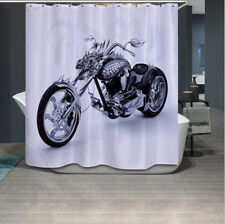 Cool Retro Motorcycle Bathroom Waterproof Fabric Shower Curtain Hooks 72x72""