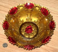 antique LANCASTER LA BELLE ROSE large bowl GOOFUS GLASS red gold early 1900s