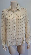 AVOCADO Cream Chiffon Blouse Apple Print Ladies Size 14 NWT NEW