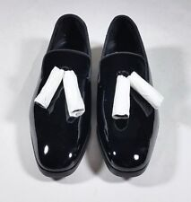 c291d1a7ff4 JIMMY CHOO Black Patent Leather Tassel Foxley Loafers Flats - size 43   10