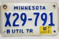 1982 Minnesota Utility trailer License Plate  #X29 791 Blue White