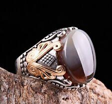 Original Yemeni Agate Aqeeq Stone Turkish Jewelry 925 Sterling Silver Men Ring13