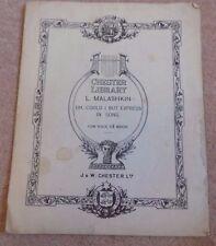 Chester Library L Malashkin C Minor Vintage Sheet Music Song Book 1922