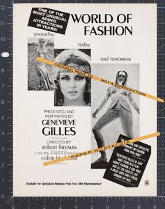 THE WORLD OF FASHION__Original 1968 Trade print AD / promo__GENEVIEVE GILLES