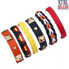 6 Piece Leather Bracelet Set, Braided Woven Colourful Wristband Wrap Strap - UK