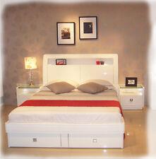 Gemma 3 piece KING Bedroom Suite - LED Lights - Hi Gloss White - BRAND NEW