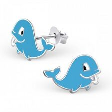 Childrens Girls Sterling Silver Blue Whale Stud Earrings - Gift Boxed